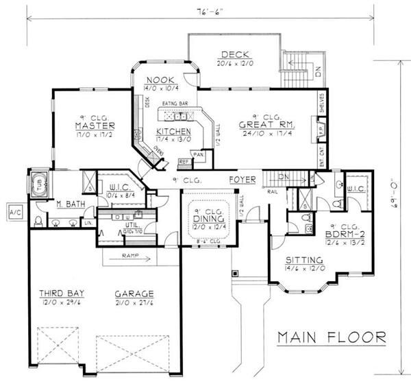 Contemporary Ranch In Law Suite House Plans Home Design Rdi 2583r1 Db 18967 Home Design Floor Plans House Plans Garage House Plans