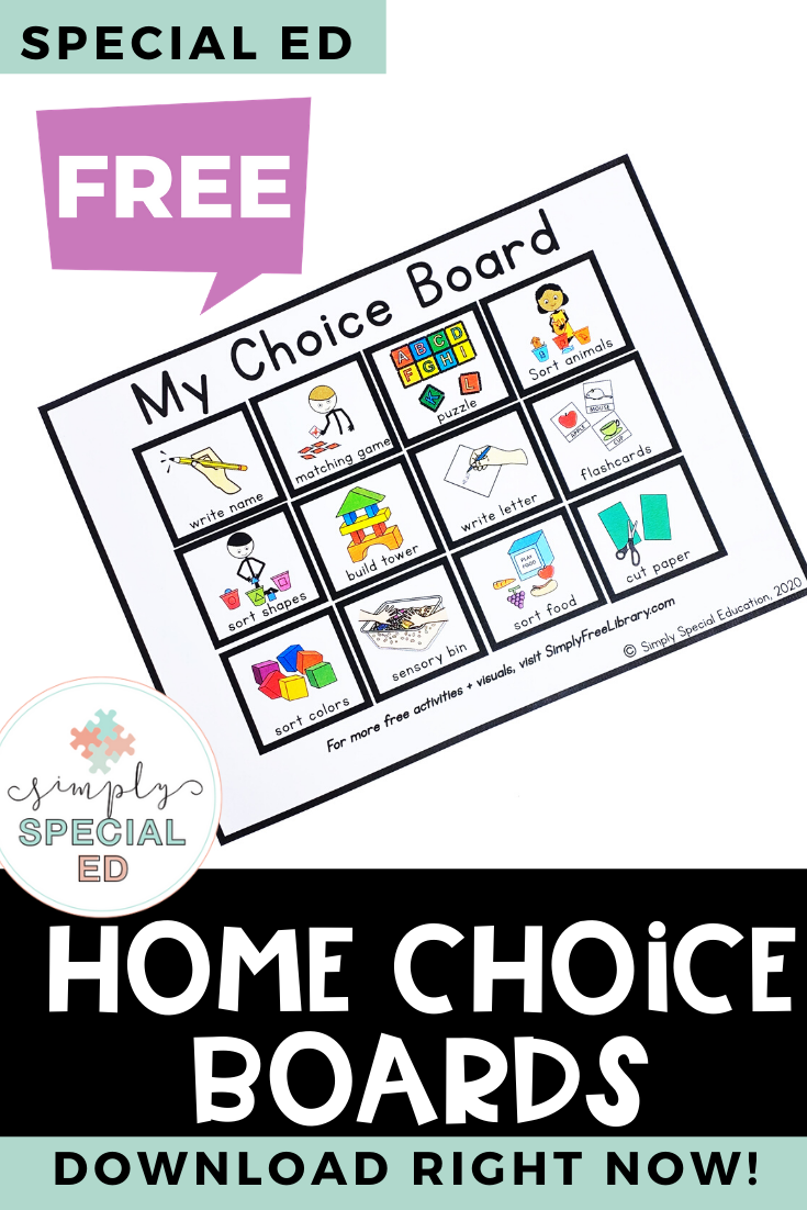 Free Choice Board Printable At Home Learning For Special Education Choice Boards Special Education Easy Math Activities