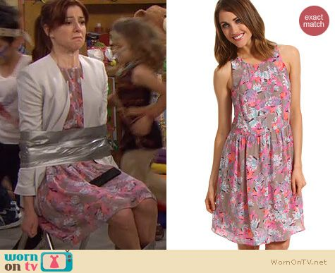 Lily's pink floral dress on How I Met Your Mother. Outfit Details: http://wornontv.net/21514 #HowIMetYourMother