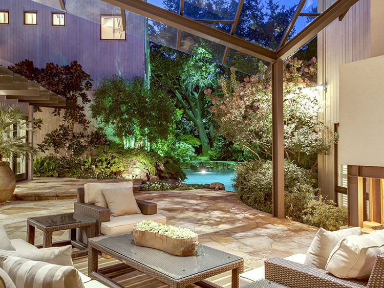Luxury Patio Ideas Detail Of Covered With Roof In Gl Paneletal Frames Stone Floor And Garden Swimming Pool On The Background