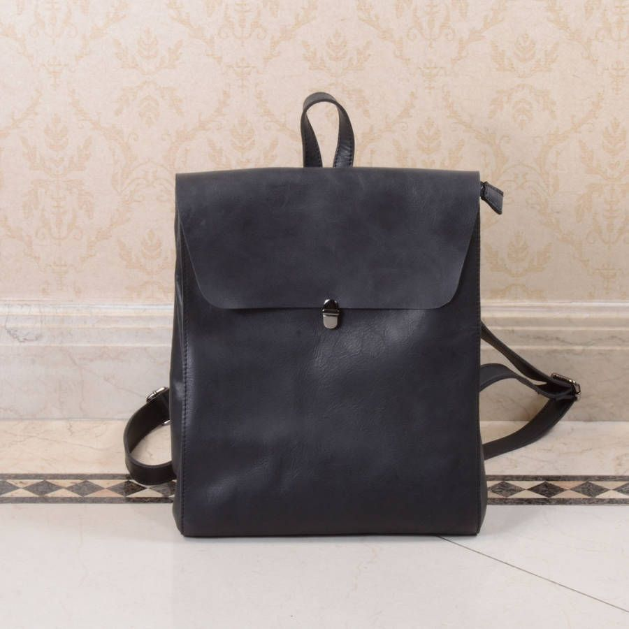 Minimalist Genuine Grain Leather Backpack Personalised | Leather ...