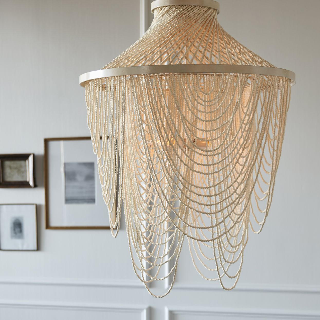 PALECEK MARIANA BEADED CHANDELIER Chandelier is fully beaded with tiny wood beads in a soft white finish complete with a cream finished chain and canopy for ... & PALECEK MARIANA BEADED CHANDELIER Chandelier is fully beaded with ...
