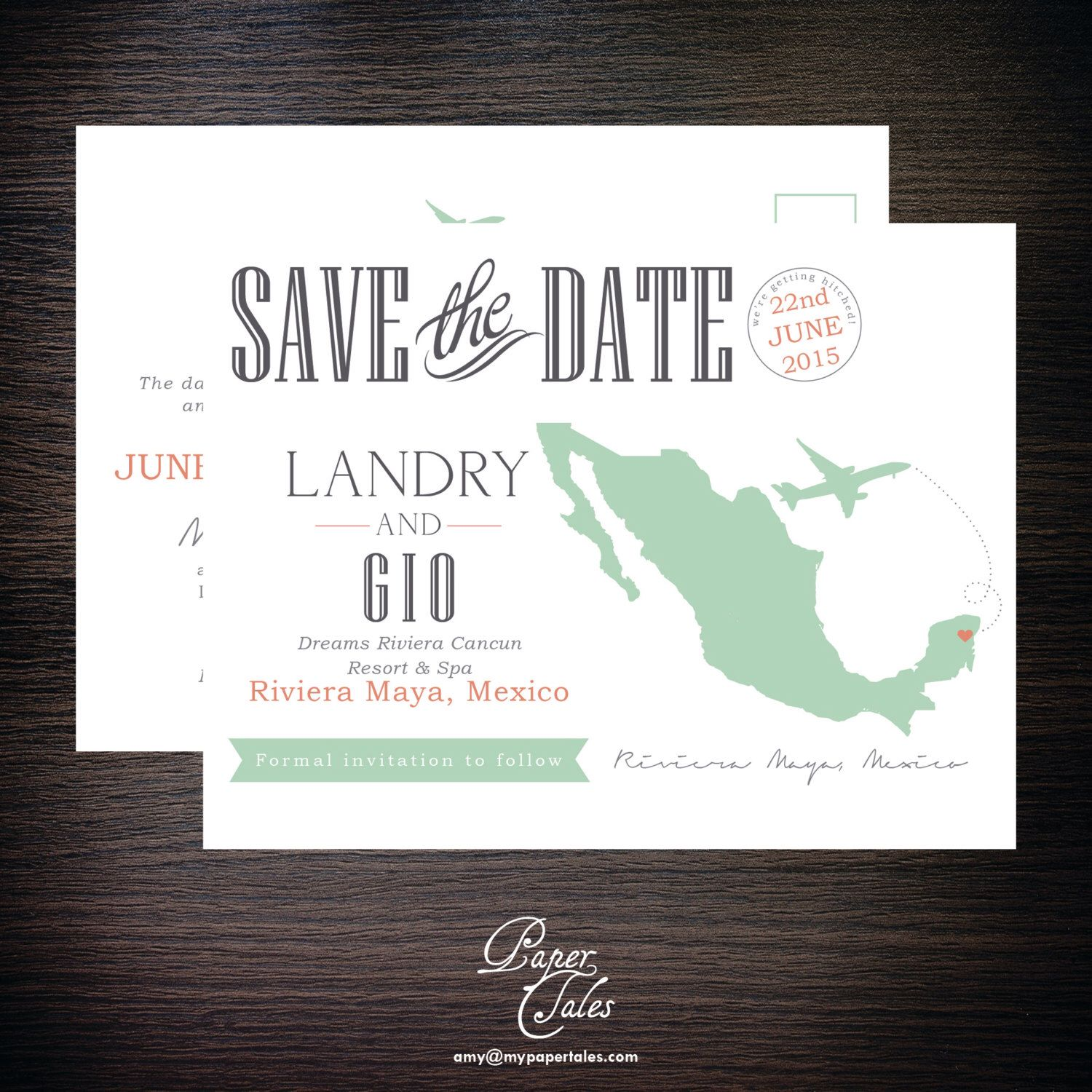 Riviera Maya Mexico Destination Postcard Save The Dates Digital