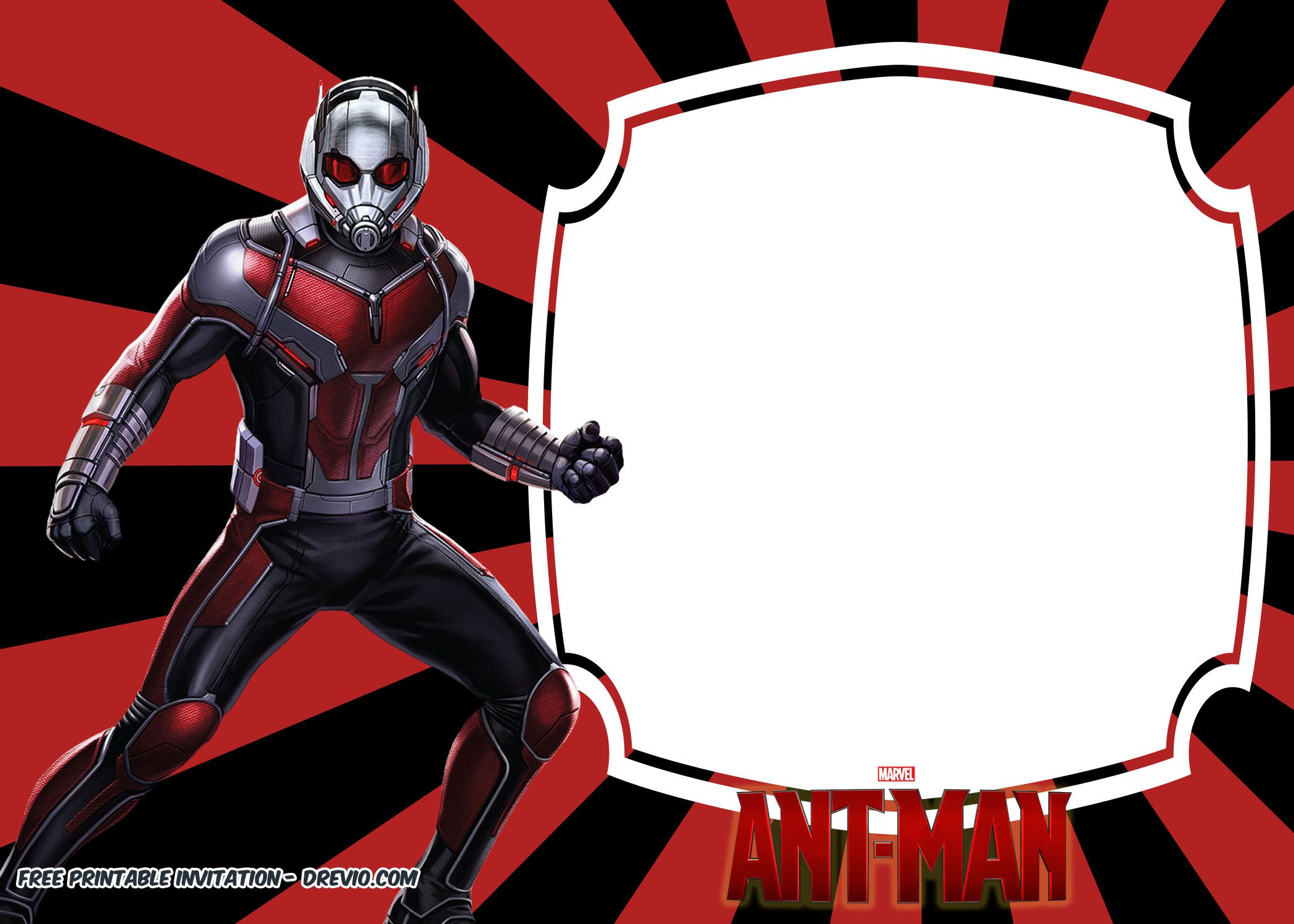 FREE Printable Ant Man Birthday Invitation Templates | Free ...