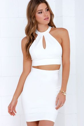 bf63dad890882 Chic My Interest Ivory Lace Two-Piece Dress | Pinterest | Bodycon ...