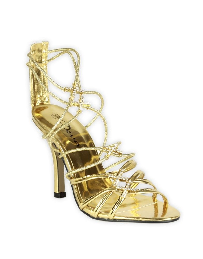 strappy high heel shoes   You are here: Home > Diamante Detail Gold Strappy High Heeled Shoes