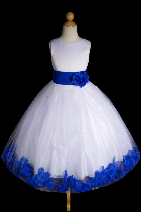 White Tulle Flower Girl Dress Satin Red Purple Royal Blue Red Easter Pageant #24