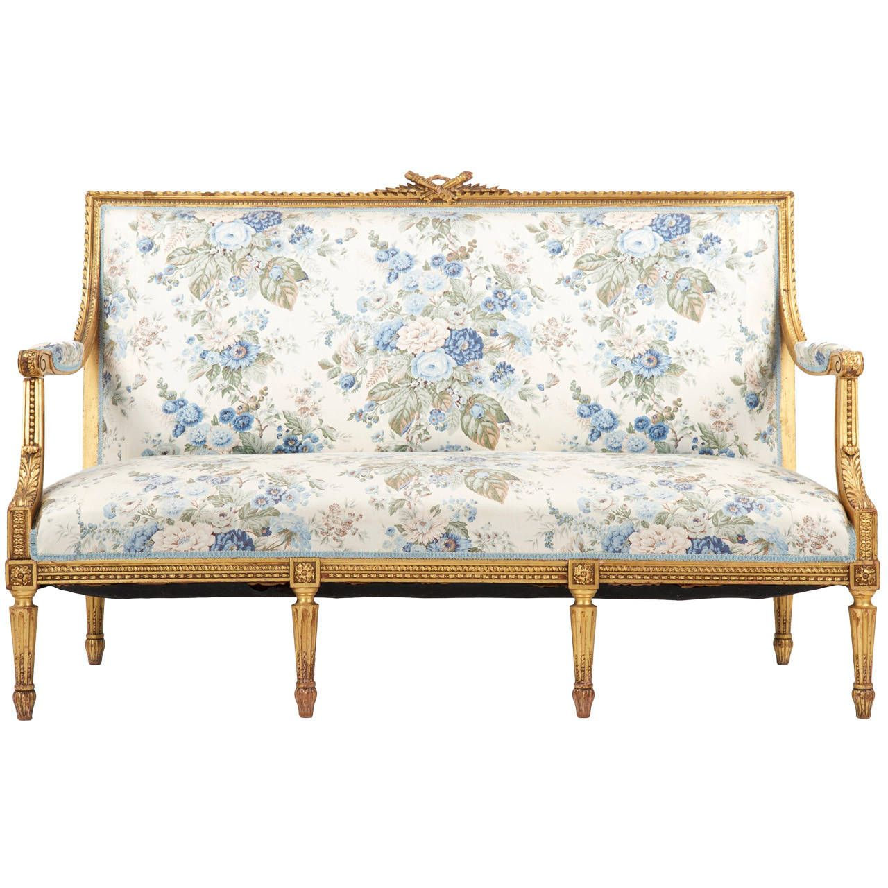 french louis xvi style giltwood antique settee sofa canape c 1900 settee sofa canapes and. Black Bedroom Furniture Sets. Home Design Ideas
