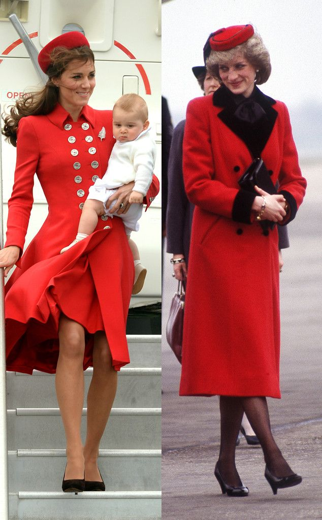 Kate Middleton Channels Princess Diana In Red Coat All The