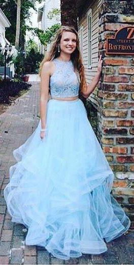 Fashion Two Pieces Light Blue Lace Tulle Ruffles A-line Prom Dress ...