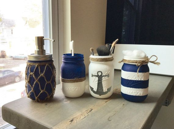 Nautical Bathroom Storage Set By Rusticjardesigns On Etsy