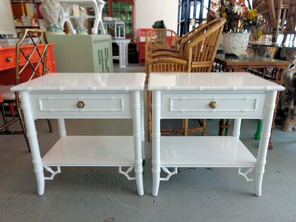 $1,400   Thomasville Faux Bamboo Nightstands