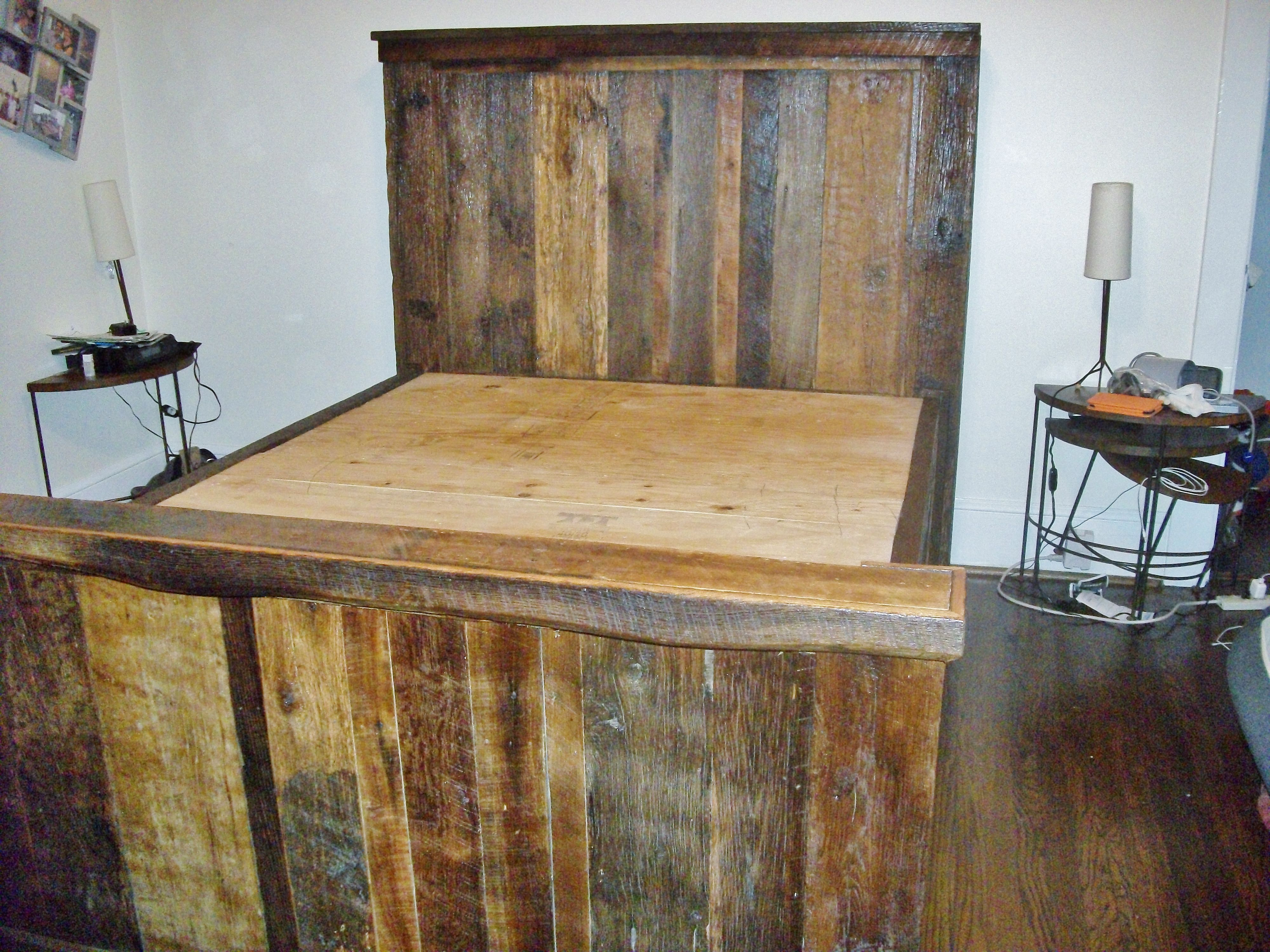This is a barn wood platform bed we built that has drawers