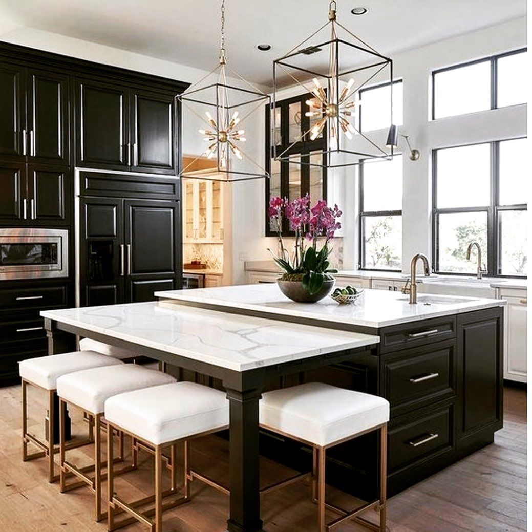 Black and white kitchen design. Centre island with extended breakfast table and stools. Every green black and white combinations with gold…