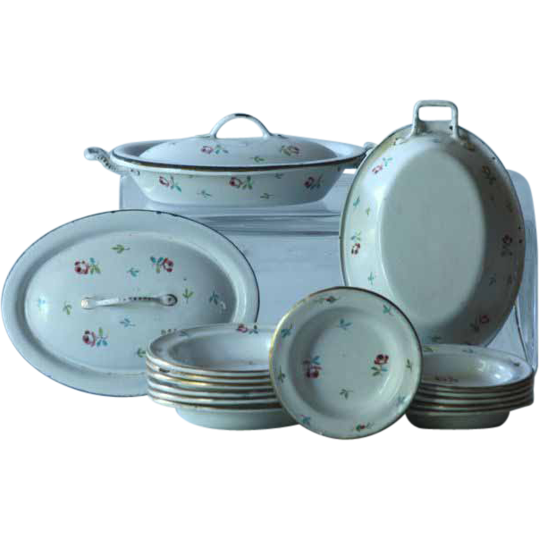 Marvelous Antique French Miniature Enamelware Dinner Service   Toy Enamel Dinner Set