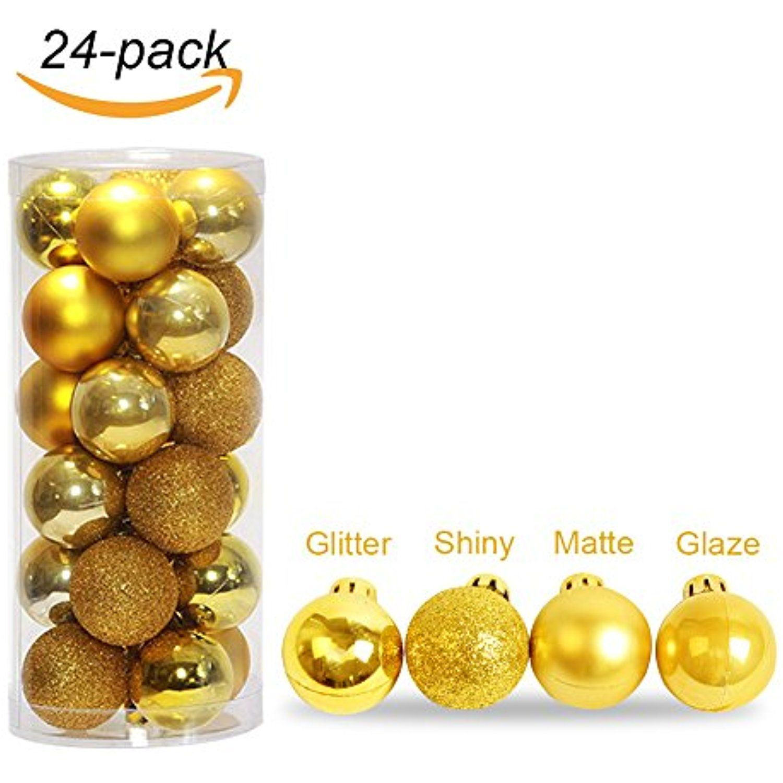 HonYea 24ct Barrel Plating Shatterproof Christmas Ball Ornaments