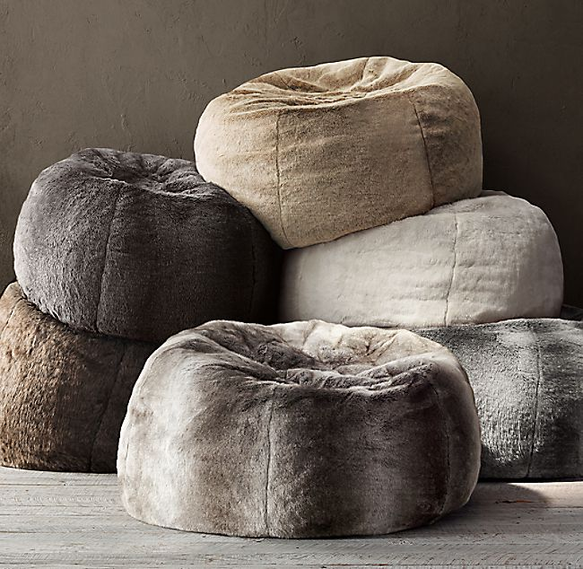 Luxe Faux Fur Bean Bag  Sable is part of Fur bean bag - RH's Luxe Faux Fur Bean Bag  SableA wrap of sumptuous luxury faux fur updates this relaxed 1970s icon  Comfortably oversized yet still portable, it provides sinkin comfort with all the indulgent softness of genuine fur