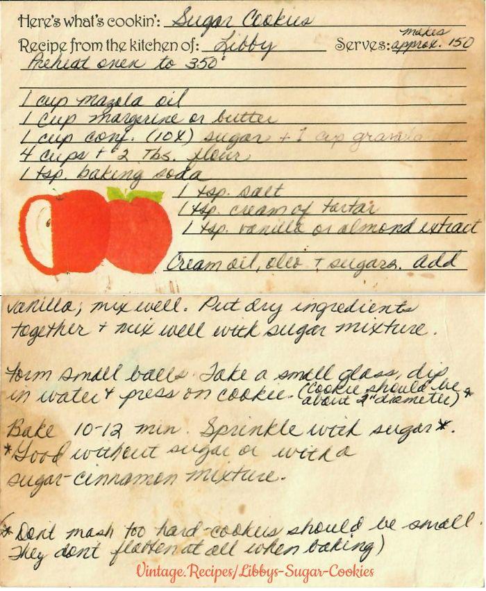 Libby's Sugar Cookies | Vintage Recipes #cinnamonsugarcookies