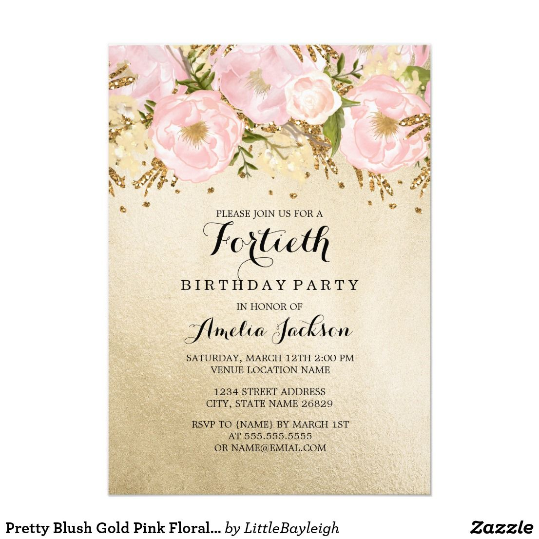 Pretty Blush Gold Pink Floral 40th Birthday Card 40th Birthday