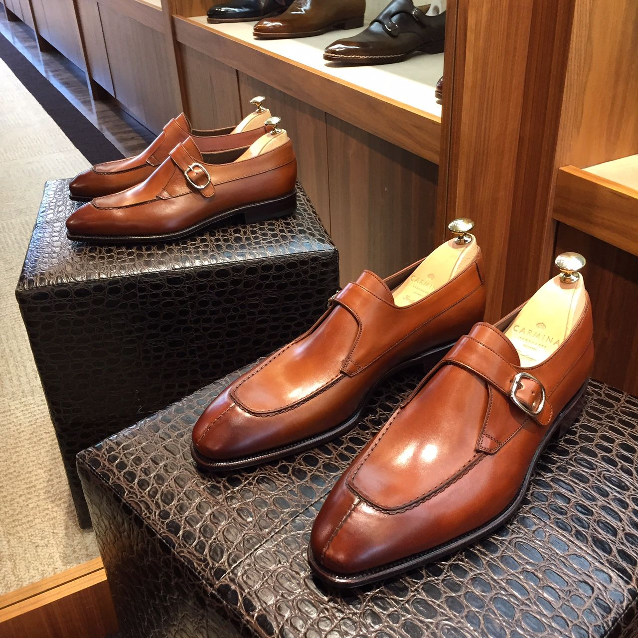 """leatherfootshoes: """"Last pair of Carmina single monks model #80180 features a semi-chiseled split toe on the simpson last, supple cognac french calfskin, and an apron. Size 10 UK. On sale for $390 CAD..."""