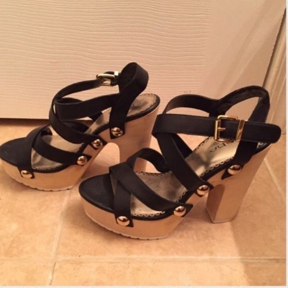 ca44efb6e24c Bebe platform leather strap heels NWT Bebe black leather strap heels. Never  worn before!