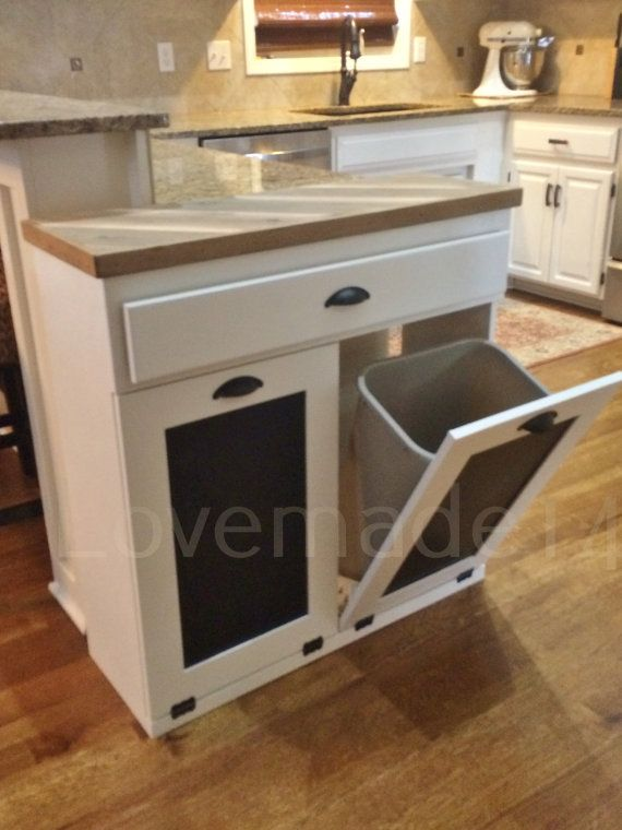 Double Trash Recycle Bins Two Drawers Rustic Tilt By Lovemade14 Trash Can Cabinet Kitchen Trash Cans Kitchen Cabinet Design