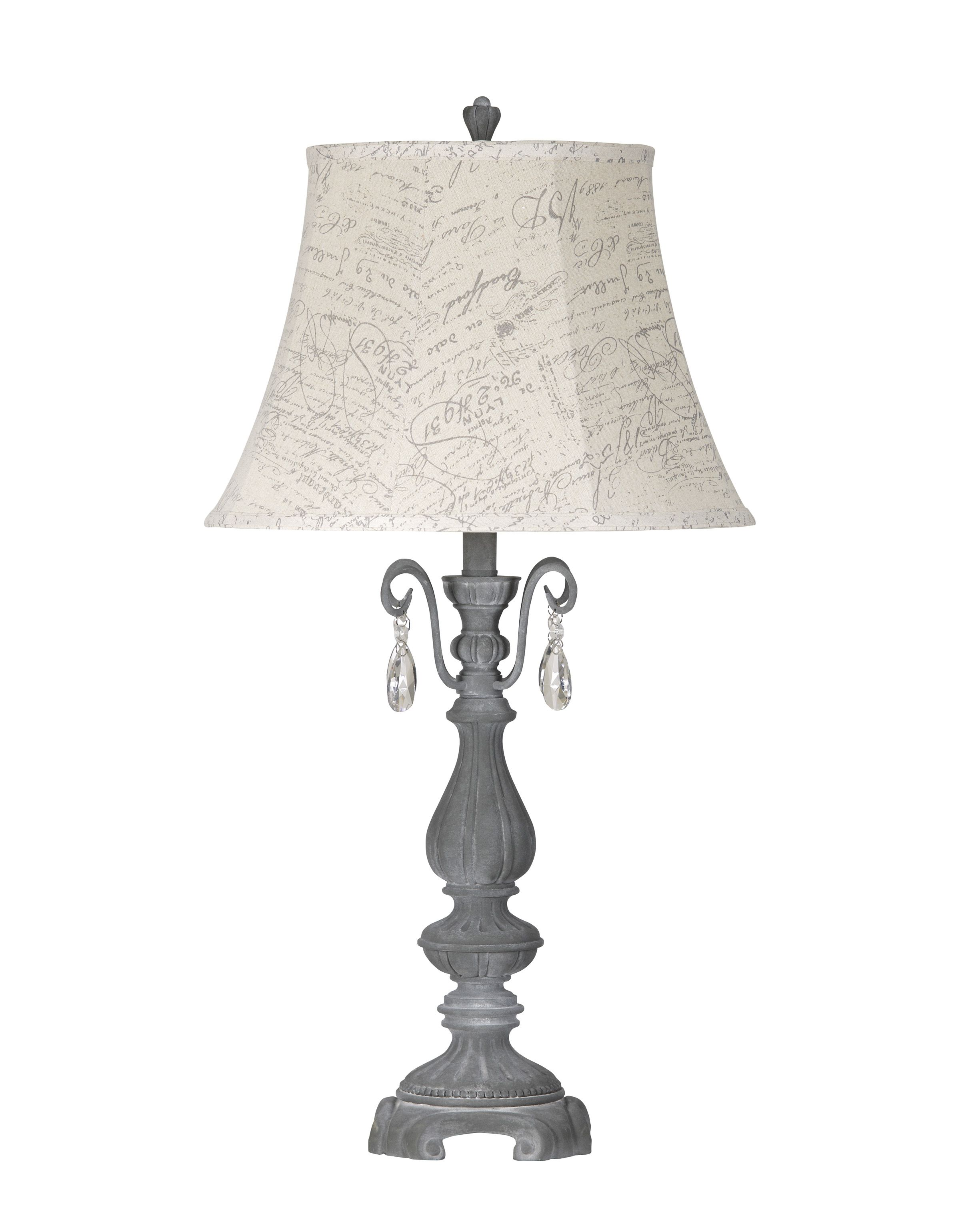Grey and crystal go so well with this great home office table lamp