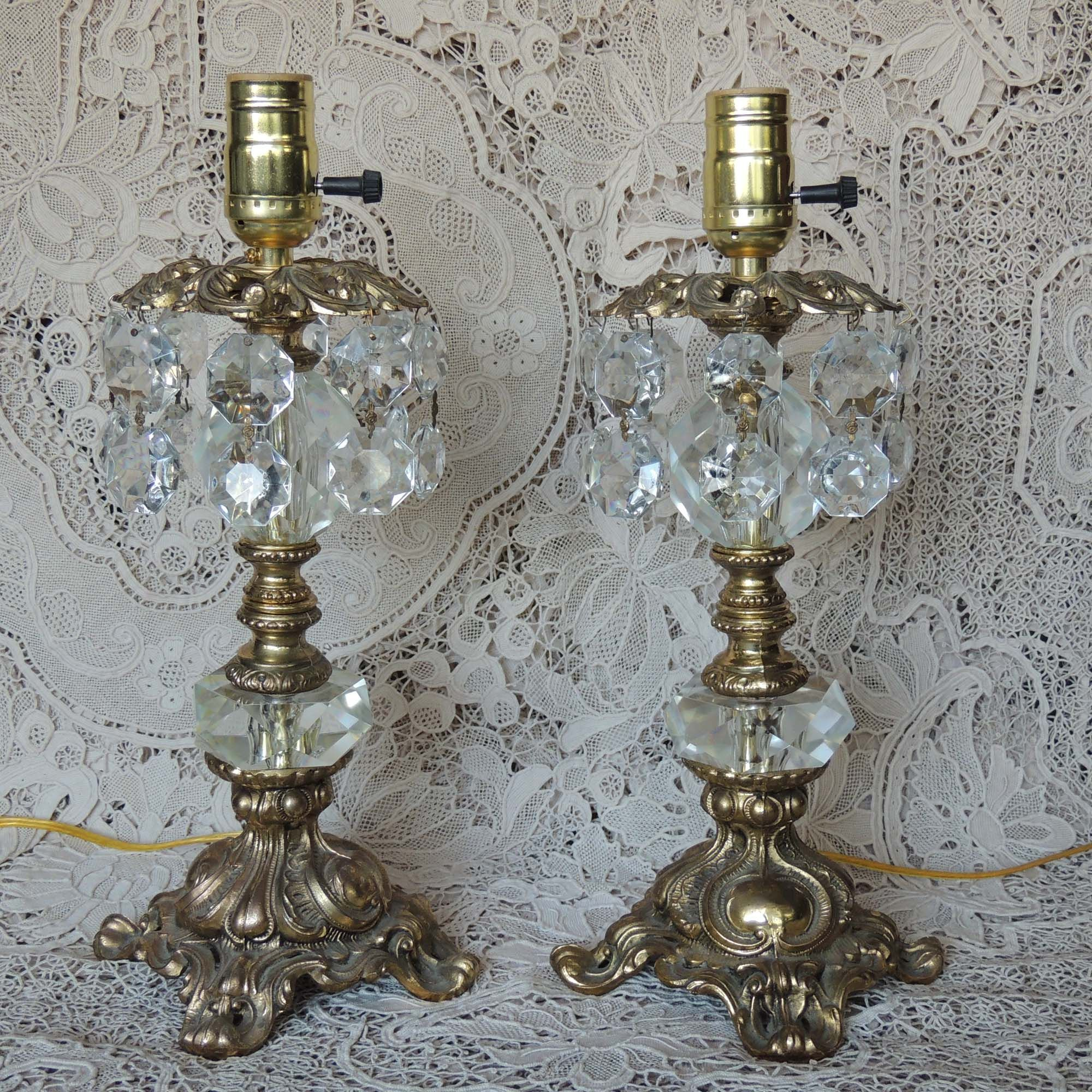 SOLD ~ Pair of ornate mid century brass lamps with prisms. Beautiful in any room…