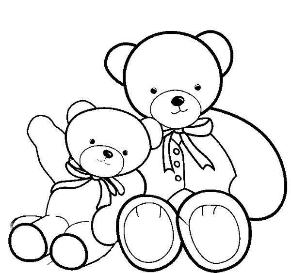Big Teddy Bear And Smaller Teddy Bear Coloring Page Teddy Bear