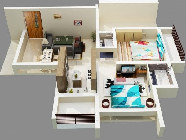 2 Bedroom Apartment House Plans Bedroom apartment, Bold colors and