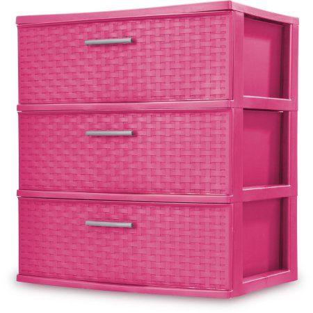 Sterilite 3 Drawer Wide Weave Tower Fuchsia Burst Pink Dorm