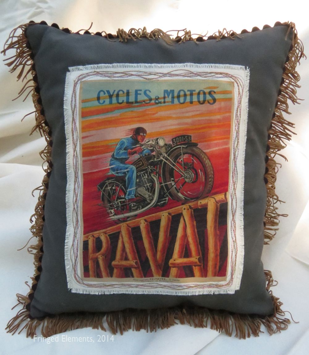 Vintage Raval Motorcycle pillow handcrafted by Craig Dorsey