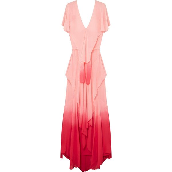 Ruffled Ombré Silk-chiffon Maxi Dress - Pastel pink Attico Buy Cheap Release Dates Sale Real Cheap Price Store Cheap Online Store Manchester JvY70kgx9