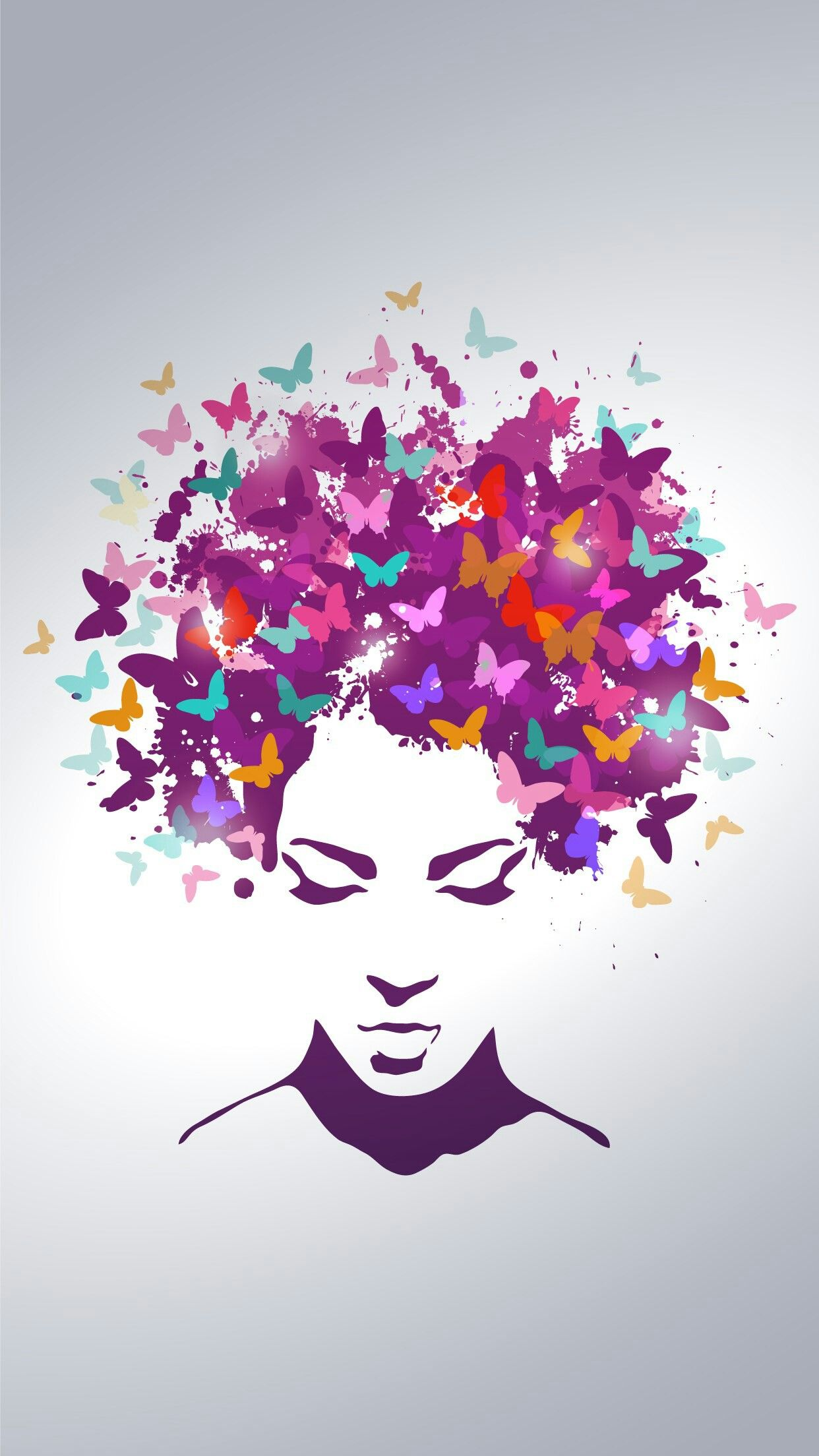 14f16eee778b7 Woman with the hair made of butterflies Free Vector