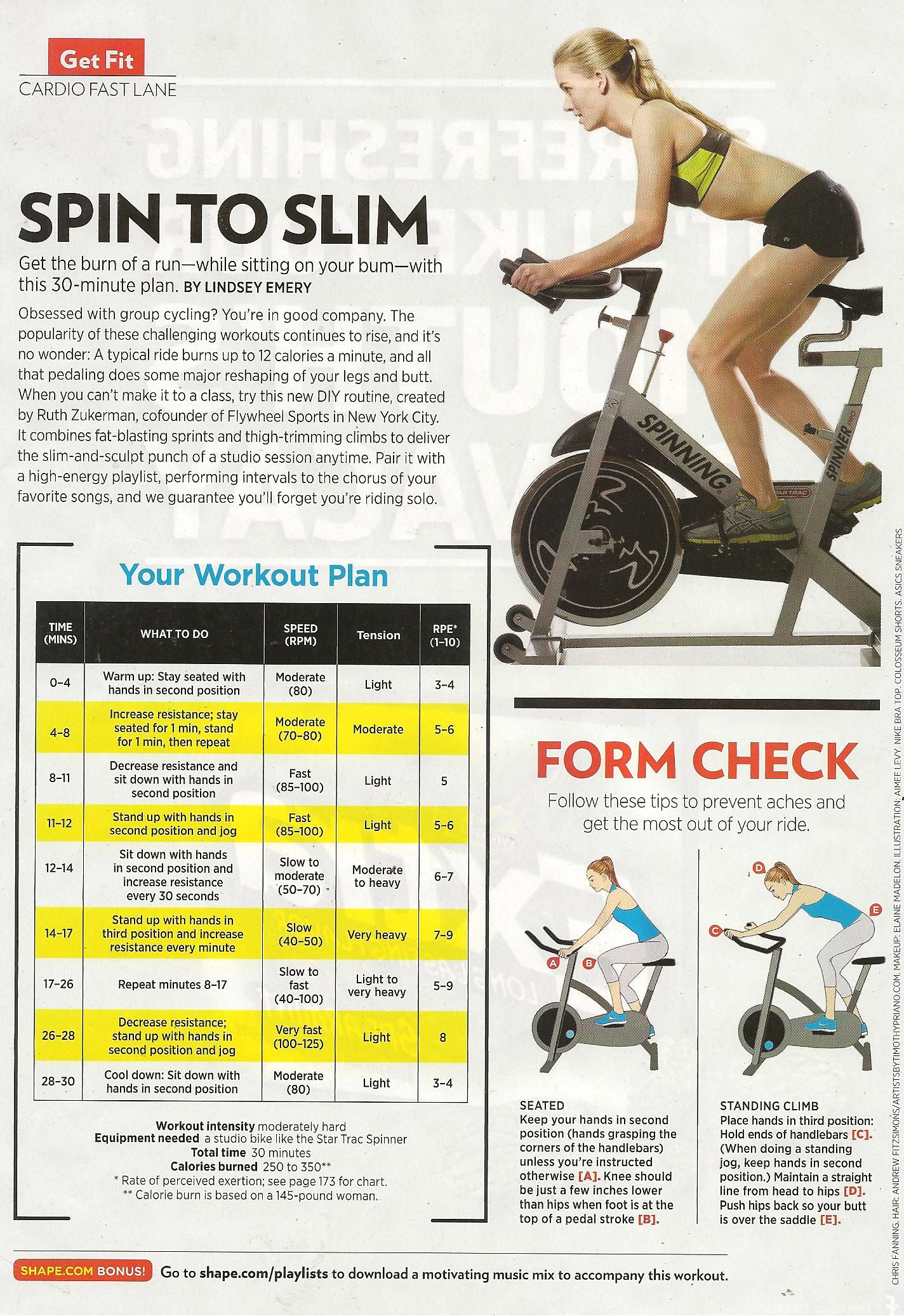 Spin To Slim Cycling Workout Spin Bike Workouts Spinning Workout
