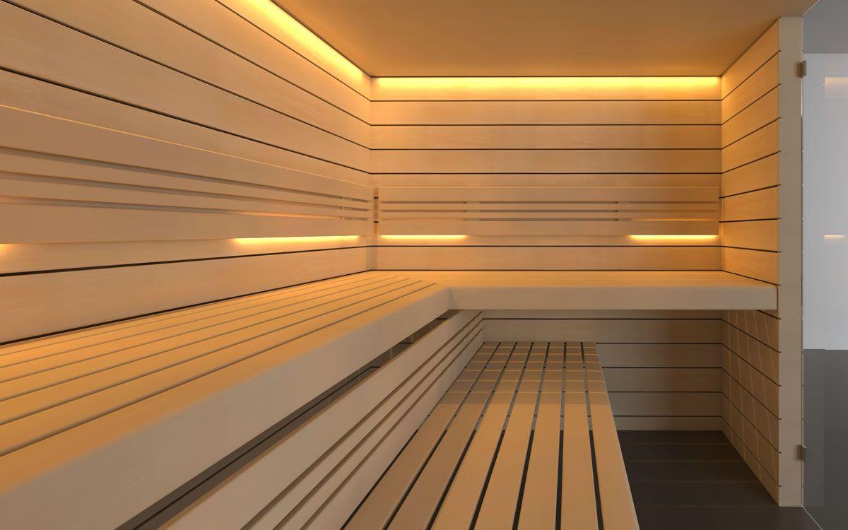 Designsauna Sanbe horizontale Profile Schwimmbad bauen