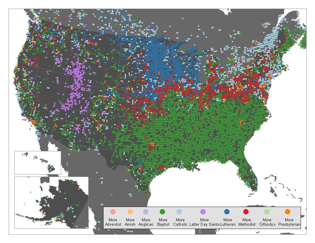 Map of the Christian faith in the US Maps Pinterest