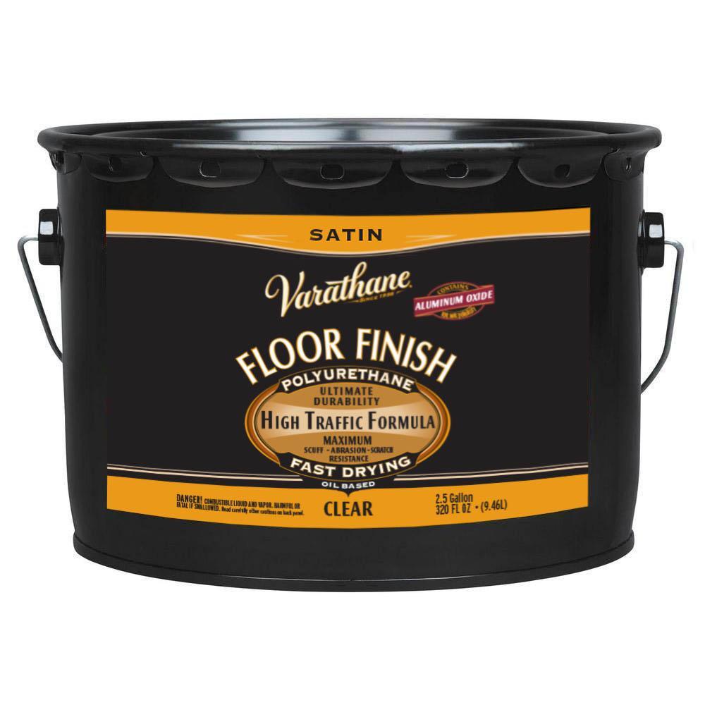 Varathane 2 5 Gal Clear Satin Oil Based Floor Finish Polyurethane 339752 Floor Finishes Flooring Polyurethane Floors