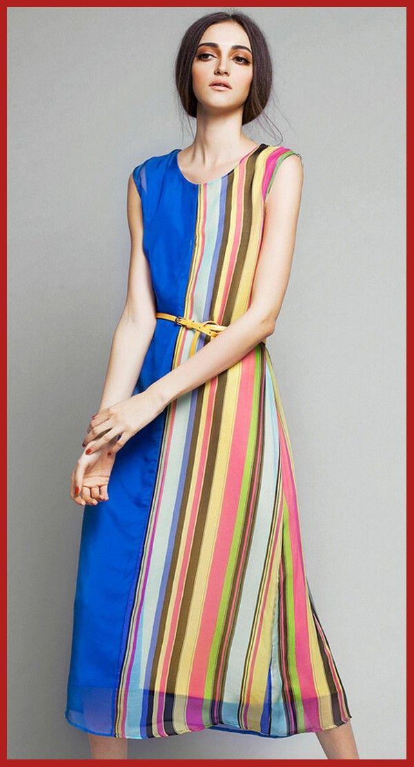 Designer Fashion Long Dress For Women Contrast Color | DRESSES FOR ...
