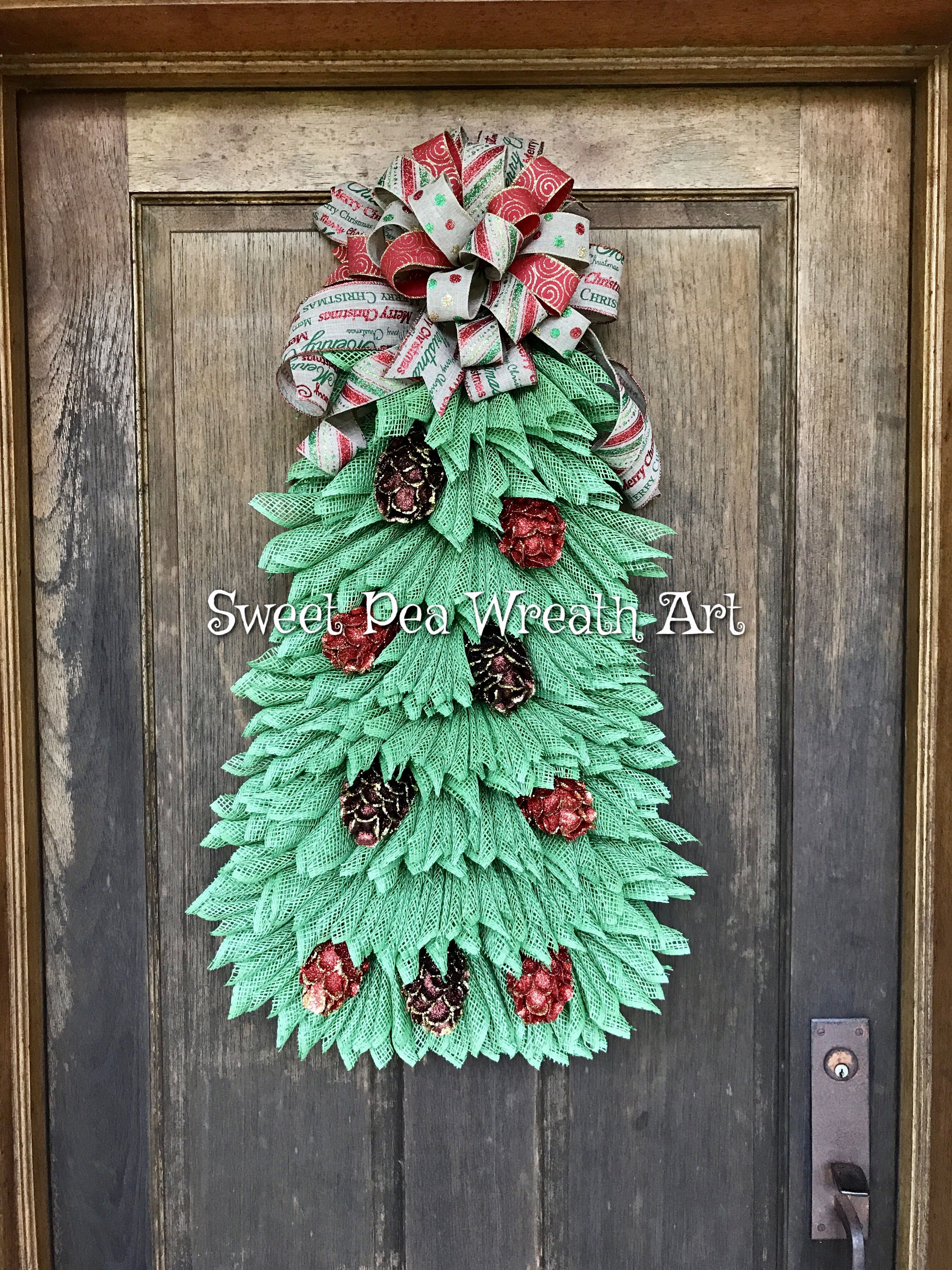 Christmas Tree Wreath, Deco Mesh Christmas Tree Wreath made by ...