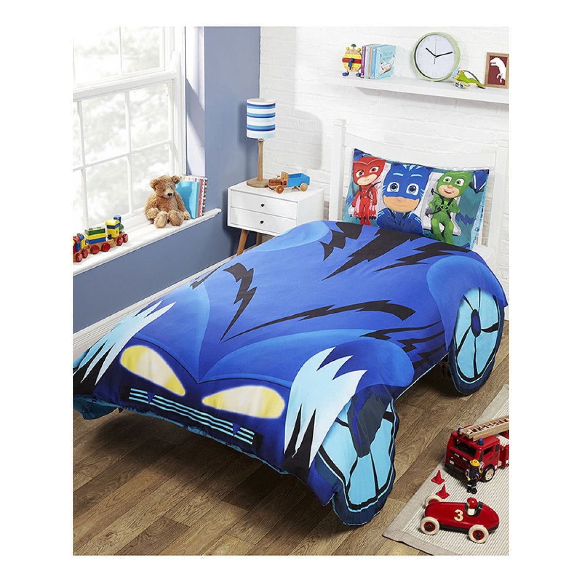 this cool pj masks cat car single duvet cover set features the added