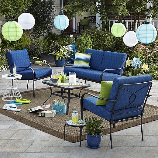 Bailey 4 Piece Seating Set Blue Limited Availability Small
