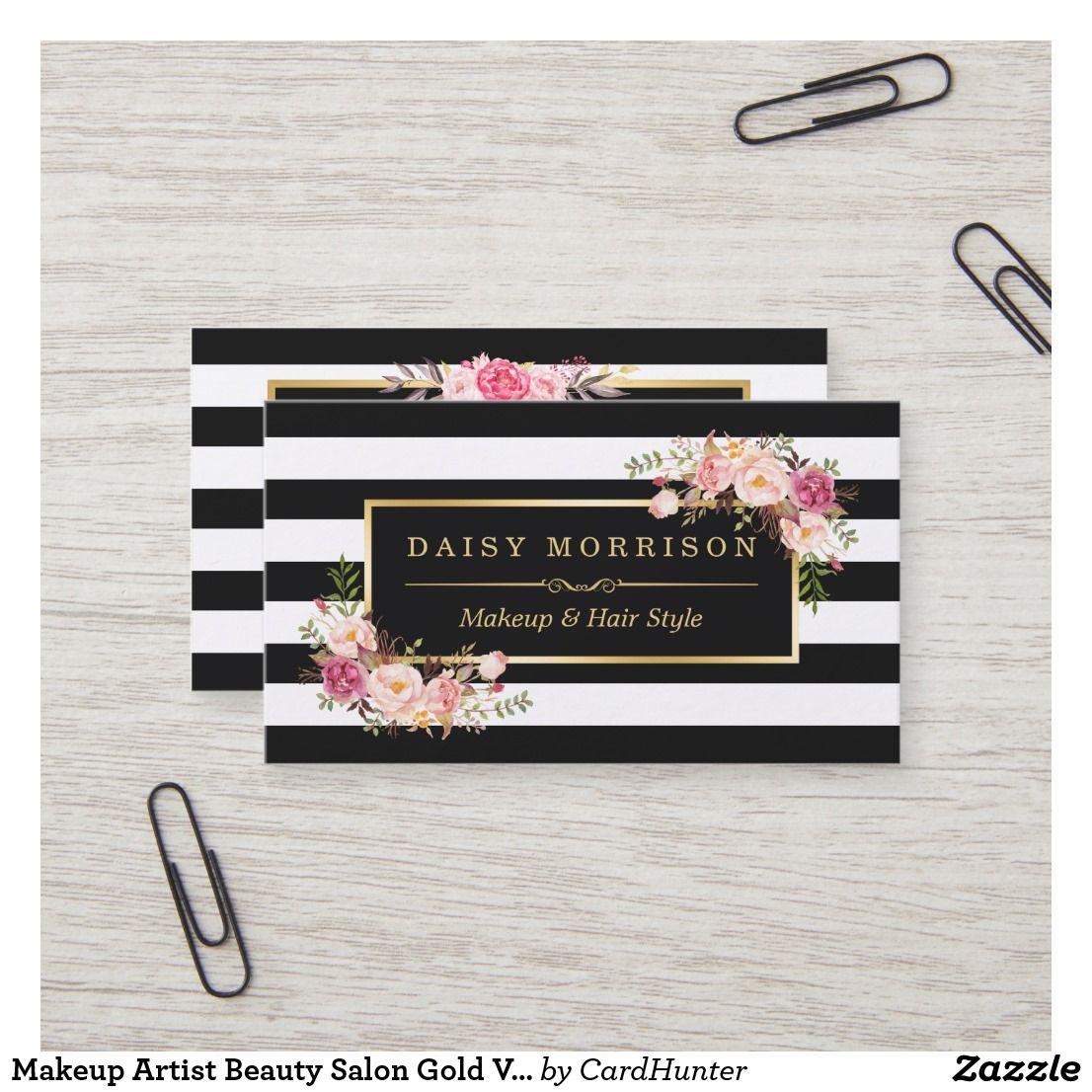 Makeup Artist Beauty Salon Gold Vintage Floral Business Card Zazzle Com Salon Gold Floral Business Cards Striped Business Card