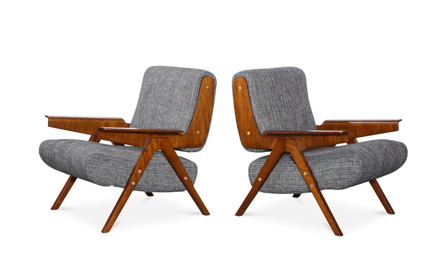 Rare Pair Of 831 Lounge Chairs By Gianfranco Frattini For Cassina