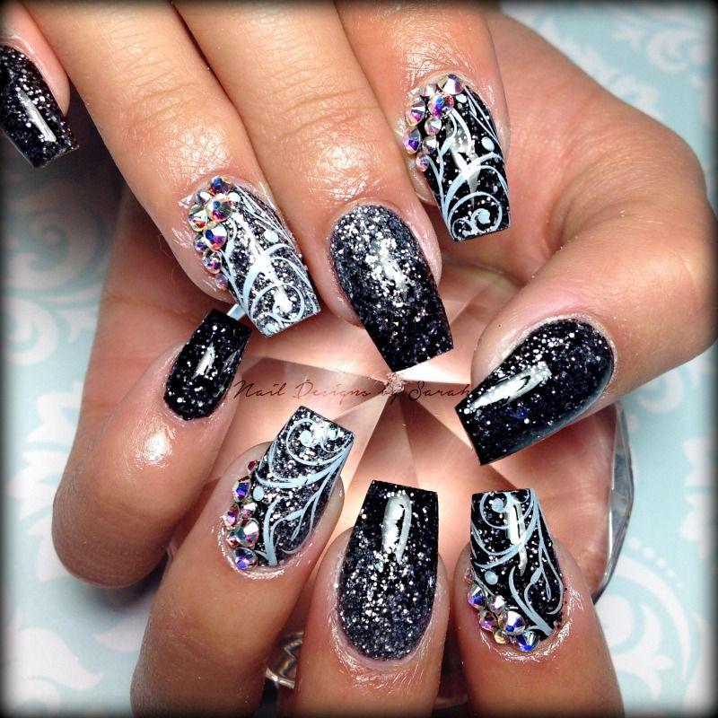 Black and grey nail art with crystals   Uñas decoradas f   Pinterest ...