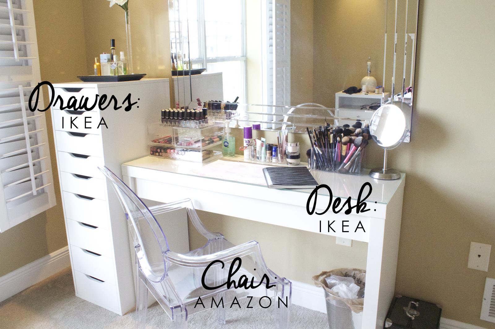 Vanity Set Up, Vanity Area, Vanity Room, Vanity Desk, White Vanity Chair