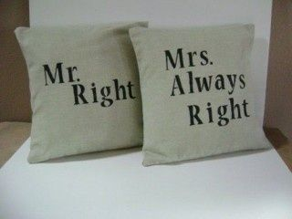 Pillow Covers Mr Right Mrs Right Always Remember Mrs