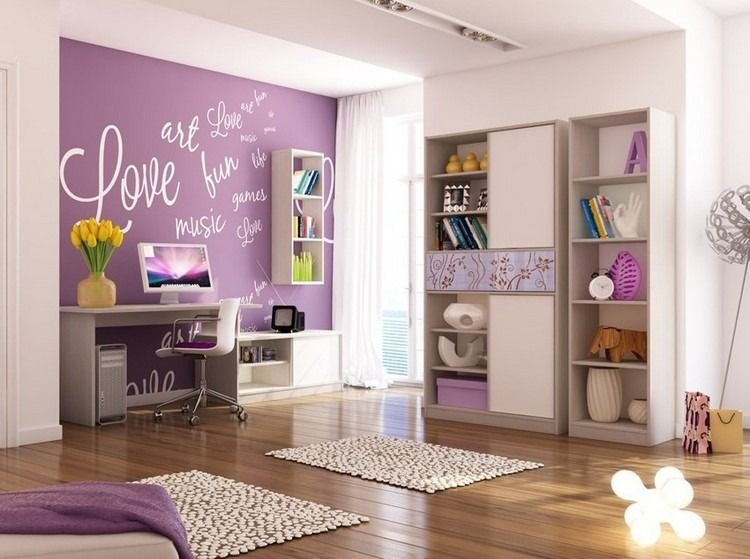 lila wandfarbe und weiße schrift | kinderzimmer mädchen ... - Kinderzimmer Farben Ideen Mdchen