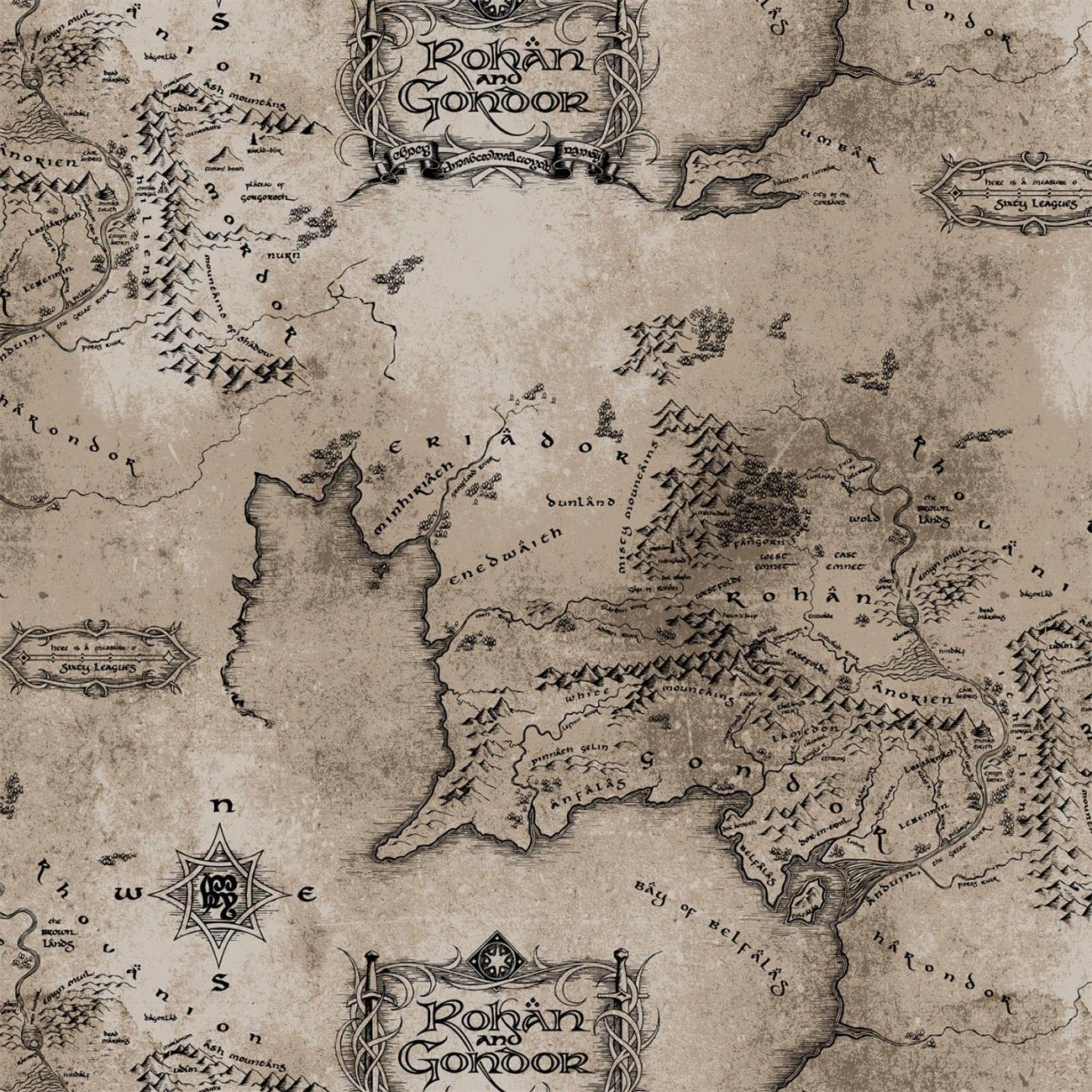 Taupe Lord of the Rings Middle Earth Map 15yds Cotton 44