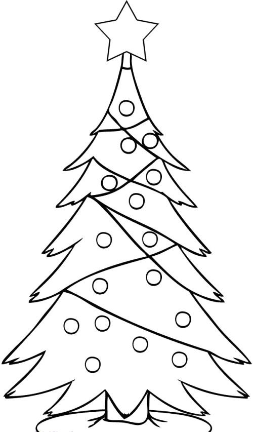 A Christmas Tree In A High Star Garnish With Coloring Page Christmas Tree Drawing Christmas Drawing Tree Coloring Page